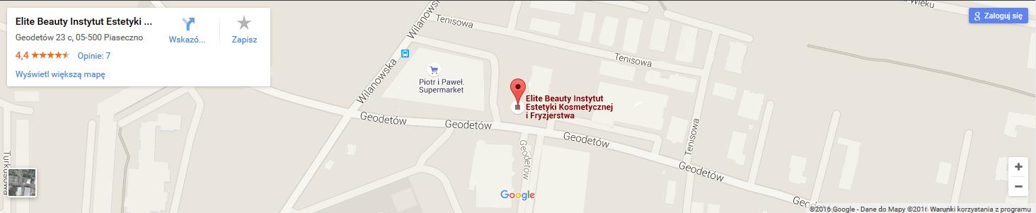 Salon kosmetyczny Elitebeauty wskazówki dojazdu na mapach Google
